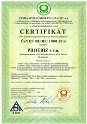 certifikat proebiz 27001:2014