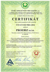 certifikat proebiz 9001:2016