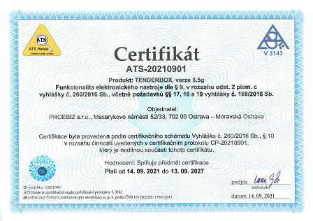 Certifikát funkcionalita elektronického nástroje