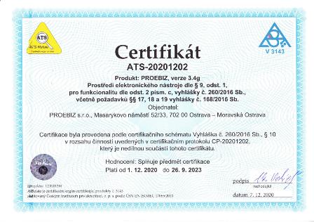 Certifikát prostředí elektronického nástroje