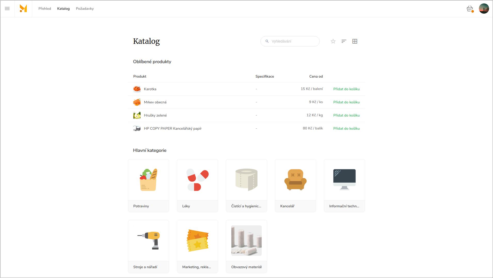 Intuitivní vyhledávání umožní rychlé a přehledné nelezení potřebných položek a to jak kategorizačním stromem nebo fulltextovým vyhledávačem v katalogu nebo produktových skupinách.